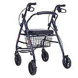 YHtech Andador de la Carretilla Vieja Cuatro Walker de Ruedas Plegable Puede Sentarse Andador Compras Carro Portátil Antideslizante bastón con el Hospital