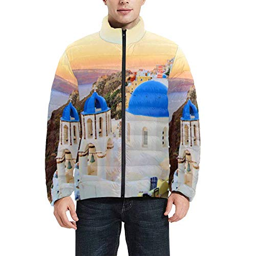 INTERESTPRINT Men's Zipper Closure Long Sleeve Athletic Jackets with Pockets Sunset View of Santorini,Greece L