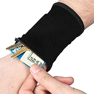 MelysUS Sports Thick Solid Stretchy Credit Cards Keys Wrist Wallets with Zipper Coin Purses & Pouches