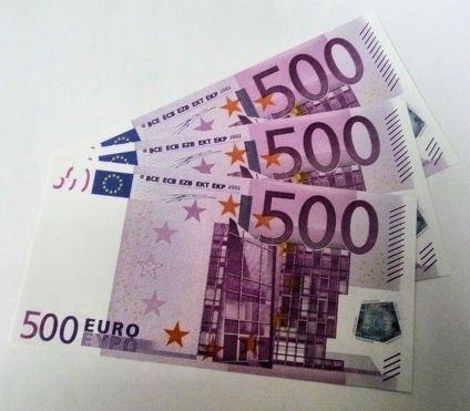 Geschenkartikel 10 Stück '500er Euro-Ersatz-Scheine' 125%, einseitig, Spielgeld - nach Wahl (10 x 500)