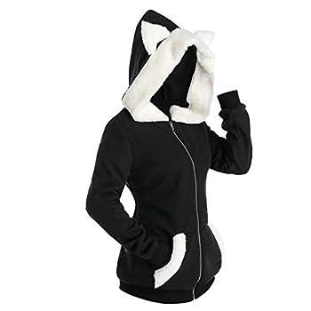 YAnGSale Unisex Tops Cosplay Cat Ear Jacket Faux Furs Insert Coat Zip Up Hoodie Sweatshirt Plaid Pocket Pullover  Black M