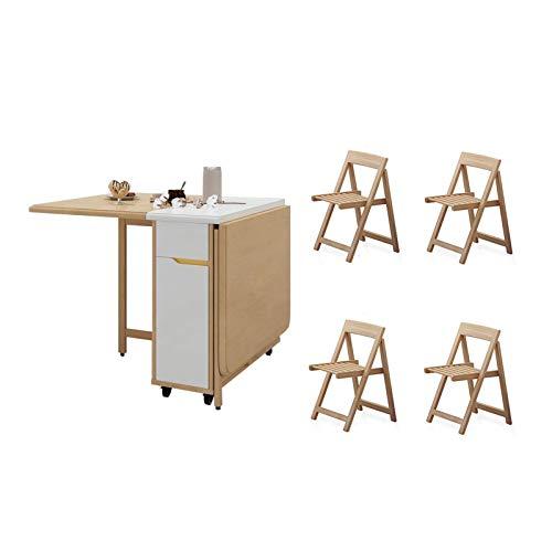 YUNLILI Conveniente Mesa de Cocina Plegable de Madera Mesa Rectangular de Hoja de Cocina de Ahorro de Cocina con 4 sillas, Asientos de hasta 6 Personas multifunción