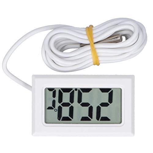 Detector de temperatura con cable Mini LCD Termómetro digital Instrumento de medición de temperatura FY13001(blanco)
