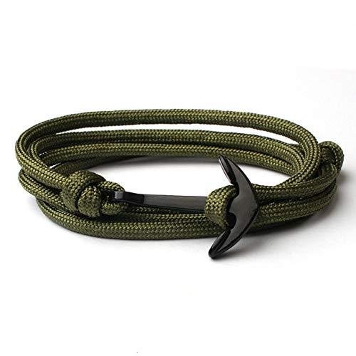Clásico ancla pulsera de cuero para hombres vintage multicapa cuerda cadena hombres pulsera joyería regalo