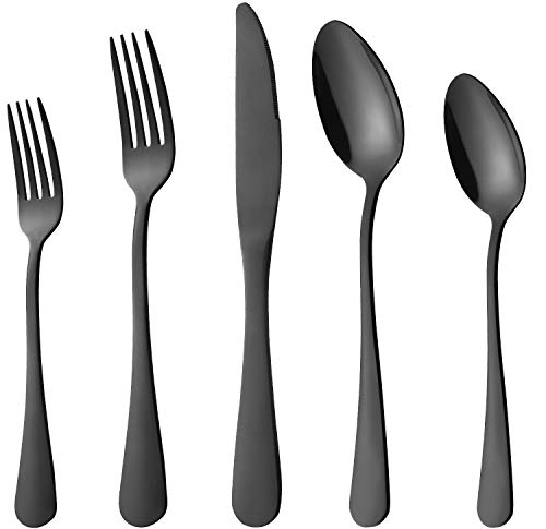Black Silverware Set, 20-Pieces Flatware Set Stainless Steel Cutlery Set Service for 4,Include Knife/Fork/Spoon,Mirror Polished,Dishwasher Safe