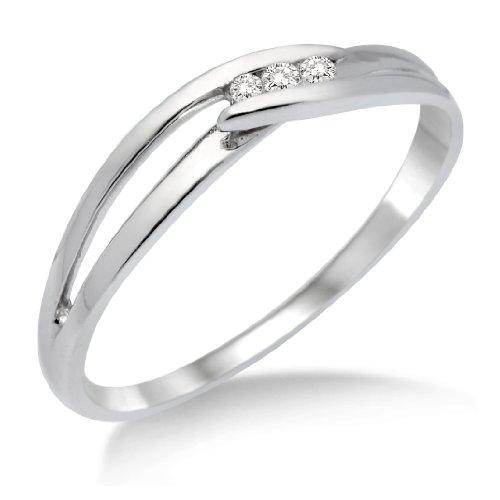 Miore MA940RP - Anillo mujer oro blanco 9k 3 diamantes