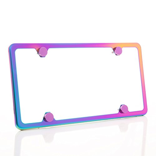 KA LEGEND One Polish Mirror Neo Chrome T304 Stainless Steel Four Hole Slim License Plate Frame Holder Front Or Rear Bracket with Metal Screw Cap