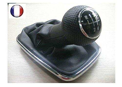 Pommeau soufflet levier vitesse diamètre 12 mm- pommeau de levier de vitesse + soufflet avec cadre chromé 5 VITESSES diamètre trou 12 mm