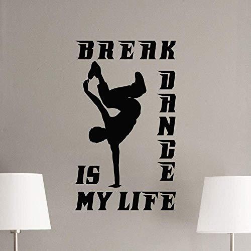 Break Dance Tatuajes De Pared Logo Bailarina Regalo Gimnasio Fitness Mural Vinilo Adhesivo 57X86Cm