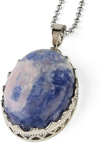 NC188 Stone Pendant Necklaces For Women Natural Oval Cabochon Stone Crown Bezel Wrapped Sodalite Pendant Necklace With Silver Chain Christmas Jewelry Gift For Women Men