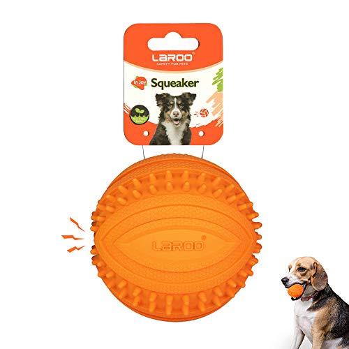 LaRoo Hundespielzeug Hundeball Squeaker, Langlebiges Naturkautschuk Hund Fußball, Quietscher Werfen Hundebälle, Kauspielzeug für Kleine & Große Hunde. (9CM Orange)