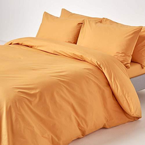 Homescapes Bettwäsche-Set 2-teilig Bettbezug 135 x 200 cm mit Kissenhülle 48 x 74 cm senfgelb aus 100% Reiner ägyptischer Baumwolle Fadendichte 200 Perkal-Bettwäsche