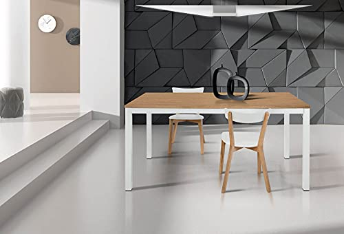 Milani Home s.r.l.s. Tavolo da Pranzo Moderno di Design Allungabile Cm 80 X 120/170 Rovere Struttura Bianca Piano Naturale per Sala da Pranzo