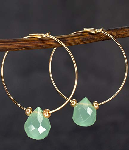 Ohrringe Creolen mit Peridot Edelstein - Vergoldet Tröpfchen - Geschenkbox - Ohrhänger Hängend
