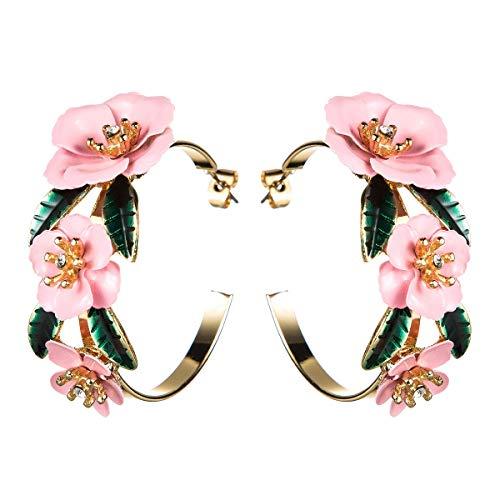 Pendientes Pendientes de anillos de flores europeos y estadounidenses Pendientes de flores de pintura en aerosol de aleación de múltiples capas Pendientes literarios de temperamento retro con ropa de