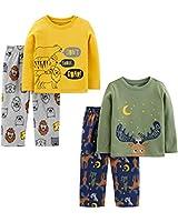 Simple Joys by Carter's Boys' Toddler 4-Piece Fleece Pajama Set, Animals, 2T