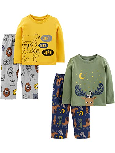Simple Joys by Carter's Boys' Toddler 4-Piece Pajama Set (Poly Top & Fleece Bottom), Animals, 3T