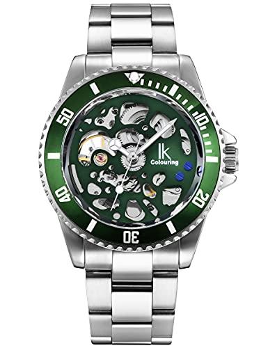Alienwork Reloj Automático Hombre Mujer Plateado Pulsera de Metal Acero Verde Esqueleto Clásico