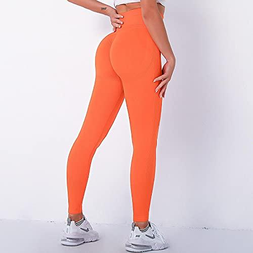 ShFhhwrl Mujer Leggins Leggings Push Up Scrunch Butt Fitness Leggings Sexy Slim Stretch Yoga Pants Ropa De Gimnasio Sin Costuras Running L Naranja