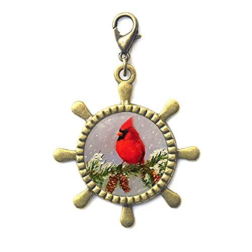 Red Cardinal Timón Cremallera Tirón Rojo Cardenal Bird Rojo Cardinal Joyería Rojo Cardenal Broche de langosta Bird Jewelry Regalo para su Red Cardinal Art-JV76