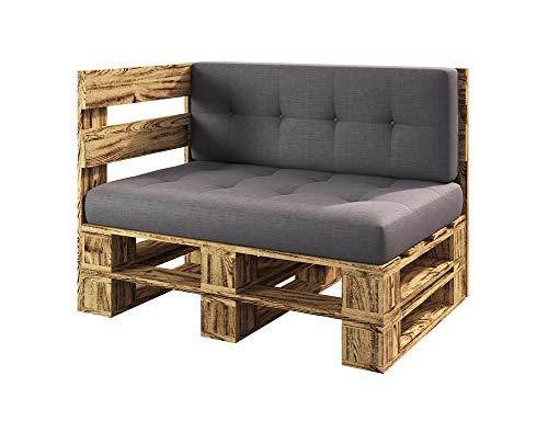 sunnypillow Palettenmöbel Gartenmöbel Set aus Holz Indoor/Outdoor Europaletten Möbel Sofa fürBalkon Terrasse Garten geflammt Eckbank 120 x 80 cm Höhe : 30 cm