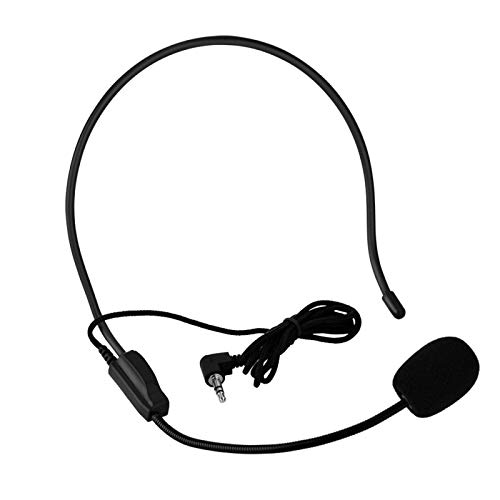 Heayzoki Auriculares con micrófono, Mini Condensador de micrófono con Cable de 3,5 mm montado en la Cabeza Mic para Amplificador de Voz Altavoz, para Centro de Llamadas de Negocios Computadora