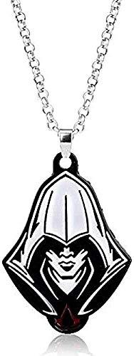 Collar Moda Assassins Creed Joyas Michael Fassbender cabeza Retrato Colgante Collar para Hombres Mujeres Fans Aleación de cadena de esmalte Collares Colgante Collar Regalo para Hombres Mujeres Niñas N