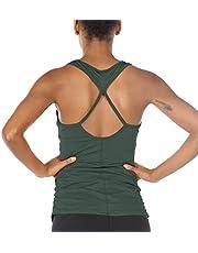 icyzone Sport Yoga Tops voor Dames - Trainings Tanktops met Uitgesneden Rug, Gym Mouwloze Shirt