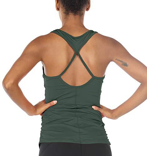 icyzone Damen Sport Yoga Tank Top - Fitness Gym Ärmelloses Shirt Trainings Top (M, Smoke Pine)