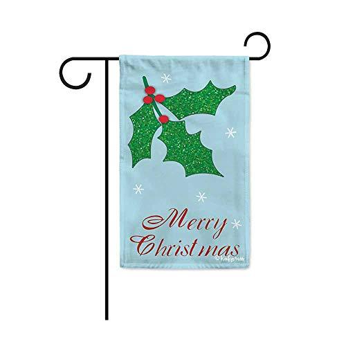 "Kafepross Merry Christmas Holly Decorative Garden Flag Winter Snowflake Decor Banner for Outside 12.5""X18"" Print Both Size"