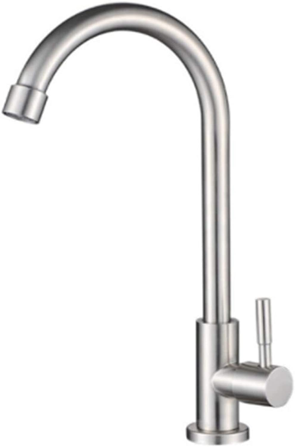 Kitchen Taps Faucet Modern Kitchen Sink Taps Stainless Steelkitchen Washing Basin Single Cold Water Faucet 304 Stainless Steel Basin Faucet Water Swivel Faucet Basin