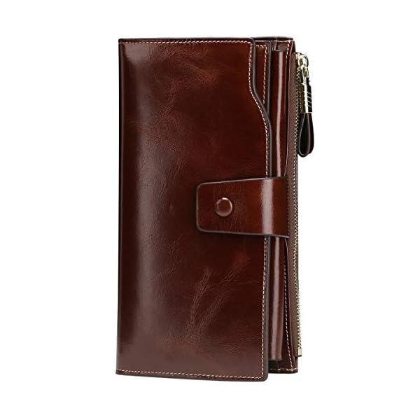 Itslife Women's RFID Blocking Large Capacity Luxury Wax Genuine Leather Clutch Wallet Card Holder Organizer Ladies Purse 1