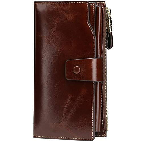 Itslife Women's RFID Blocking Large Capacity Luxury Wax Genuine Leather Cluth Wallet Ladies Card...