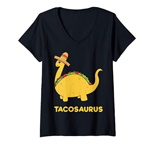 Mujer Cool & Funny Tacosaurus Taco Dinosaur Gift Tee Disfraz para Camiseta Cuello V