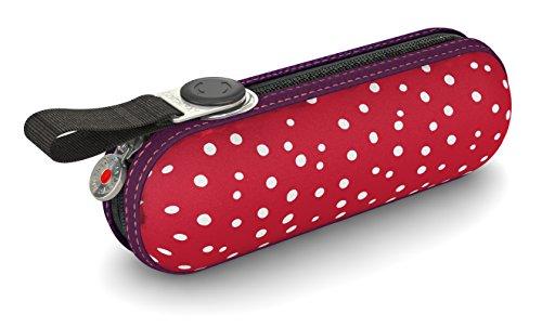 Knirps Taschenschirm X1 Dots – Der kleinste Regenschirm von Knirps – Leicht und sturmfest – Flakes Red