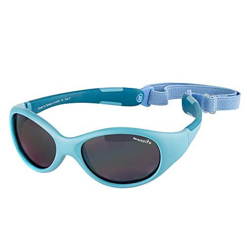 Mausito | Kindersonnenbrille | Jungen | 2 Bis 6 Jahre | 100 Prozent UV 400 Schutz | Sonnenbrille Kinder | BLUE SURFER | Kategorie 3 | Biegbares Gestell | Blau Hellblau | Kleinkind | 23 Gramm