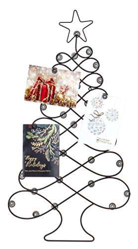 Red Co. Christmas Tree Card Holder Wall Mounted Decorative Rack in Mahogany Finish - 34' H