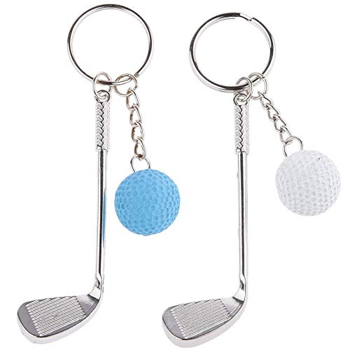 LLMZ Portachiavi da Golf 2 PCS Portachiavi Pallina da Golf Portachiavi in Metallo Moda Portachiavi Ciondolo Pallina Club Sportivi Lovers Compleanno Regalo di Natale