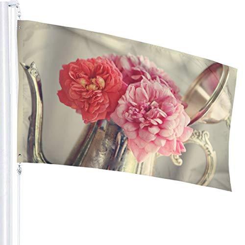 N/A Rozen Bloemen Antiek Zilver Theepot Vlag Premium Polyester Decoratie Vlag 5ft x 3ft