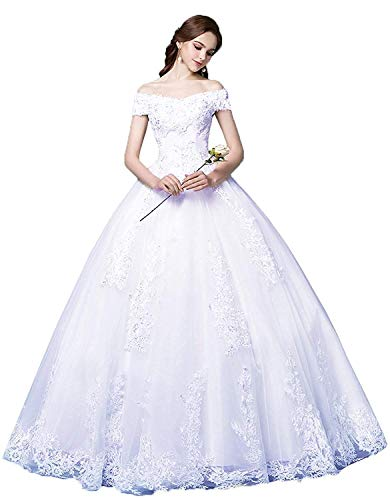 Princess Off The Shoulder Wedding Dresses Bridal Ball Gown 2019 Lace Applique Wedding Dresses for Bride 2019 White 20