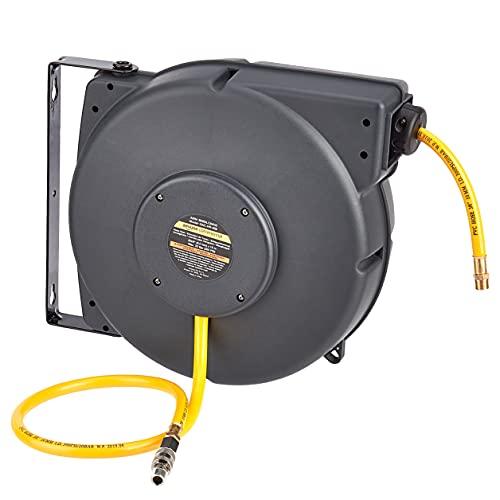 AmazonCommercial - Avvolgitubo per aria compressa o acqua, retrattile, in plastica PP, tubo a base di polimeri ibridi da 9,5 mm x 15 m, massimo 20 bar - Grigio, giallo, nero