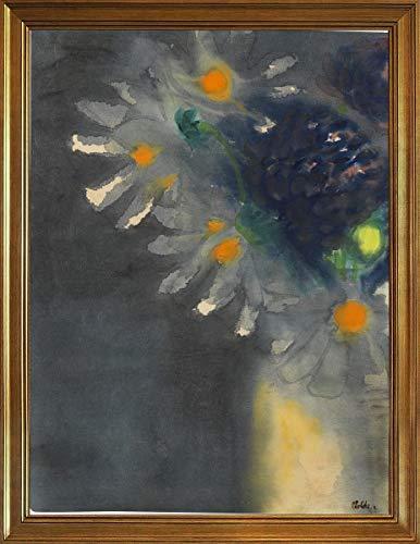 Berkin Arts Klassisch Rahmen Emil Nolde Giclée Leinwand Prints Gemälde Poster Wohnkultur Reproduktion(Blumen-Stillleben mit weißen und blauen Blutungen) #JK