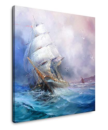 EAUZONE GmbH Gemälde mit Segelschiff 60x60cm Wandbild auf Leinwand, Kunstdruck Moderne Bilder