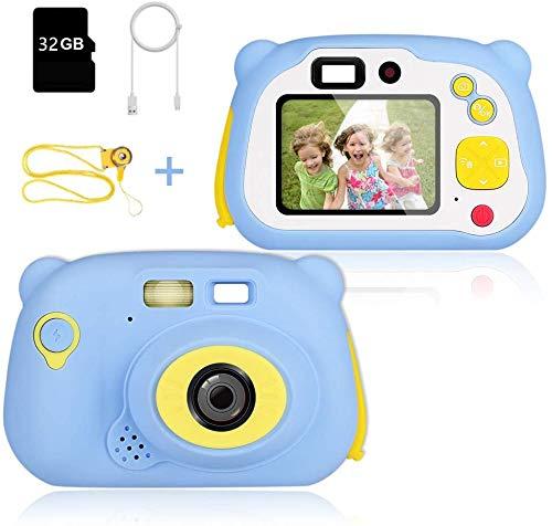Digital Kamera für Kinder, 8.0 MP Kinder Kamera, 1080P Videokamera Kinderkamera, 2.4 Zoll LCD Display Kinder Digitale Kamera mit 32 GB Speicherkarte und USB Kabel, Geburtstagsgeschenk für Kinder(Blau)