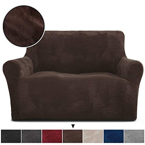 Rose Home Fashion RHF Velvet Loveseat Slipcover Slipcovers for Couches and Loveseats, Loveseat Cover&Couch Cover for Dogs, 1-Piece Sofa Protector(Chocolate -Loveseat)