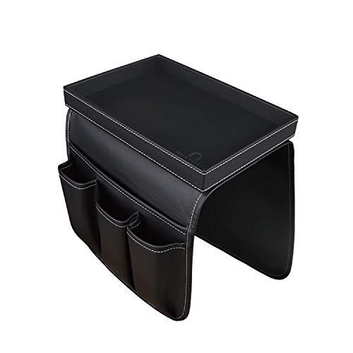 U NEATOPA Sofá Sofá Soporte para control remoto Reposabrazos Organizador de almacenamiento con bandeja de madera desmontable 4 ranuras - 1 bolsillos grandes y 3 bolsillos pequeños (negro)