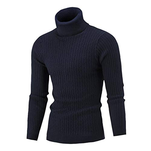 Luotuo Herren Rollkragenpullover Herbst und Winter Solide Casual Langarm Pullover Verdicken Twist Strickpullover Top Slim fit Warme Sweater Bottoming Shirt