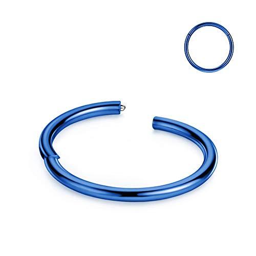 20g Cartilage Earring Hoop Blue Nose Ring Nose Rings 20 Gauge Helix Hoop Earring Forward Helix Earring Daith Earrings Tragus Earrings Surgical Steel Hoop Earrings 7mm Nose Hoop Piercing Jewelry