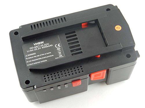 vhbw Li-Ion Batería 4000mAh (25.2V) para su herramienta electrónica Metabo KHA24, MAG 28 LTX32 por 6.254376, 6.00190.50, 6.25489, 6.25489.00