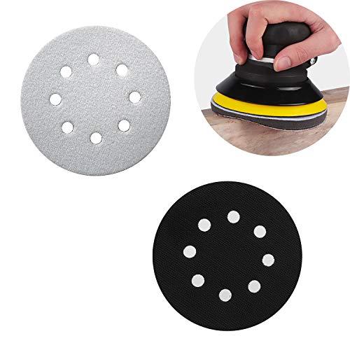 Zaky 5-Zoll-Schleifen Soft Pad 8 Löcher Weiches Schwamm Buffer Pad Interface Kissen Pad für pneumatische und elektrische selbstreinigende Poliermaschinen und Schleifmaschinen(125mm)